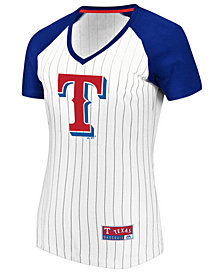 Majestic Women's Texas Rangers Every Aspect Pinstripe T-Shirt