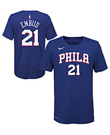 Nike Joel Embiid Philadelphia 76ers Icon Name and Number T-Shirt, Big Boys (8-20)