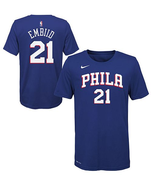 new style 9407f 8db4c Joel Embiid Philadelphia 76ers Icon Name and Number T-Shirt, Big Boys (8-20)