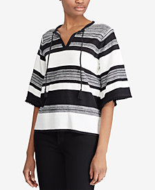 Lauren Ralph Lauren Striped Flutter-Sleeve Top