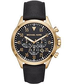 Michael Kors Men's Chronograph Gage Black Leather Strap Watch 45mm