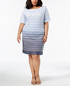 Karen Scott Plus Size Ikat-Print Sheath Dress, Created for Macy's