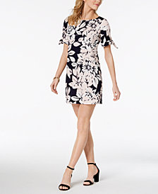Jessica Howard Petite Printed Tie-Sleeve Dress