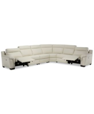 Julius II 6-Pc. Leather Sectional Sofa With 2 Power Recliners, Power Headrests & USB Power Outlet, Created for Macy's