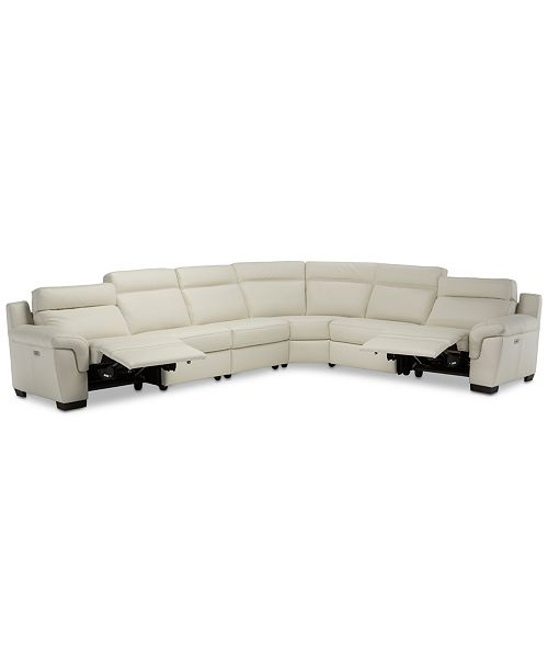 "Furniture Julius 150"" II 6-Pc. Leather Sectional Sofa With 2 Power Recliners, Power Headrests & USB Power Outlet, Created for Macy's"