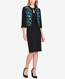 Tahari ASL Embroidered Skirt Suit