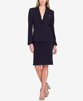 Tahari Asl Embellished Pinstriped Skirt Suit Regular Petite
