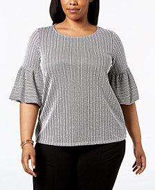 Calvin Klein Plus Size Striped Seersucker Ruffle-Sleeve Top