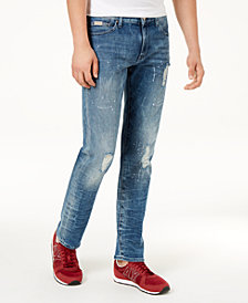 A|X Armani Exchange Men's Distressed Straight Fit Jeans