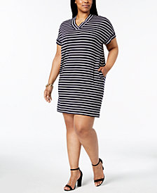 Calvin Klein Plus Size Striped V-Neck Dress