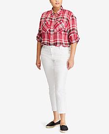 Lauren Ralph Lauren Plus Size Cotton Shirt & Straight Crop Jeans