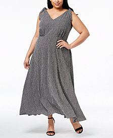 Betsey Johnson Plus Size Striped V-Neck Maxi Dress