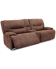 """Felyx 97"""" 3-Pc. Fabric Power Reclining Sofa With 2 Power Recliners, Power Headrests, Console And USB Power Outlet"""