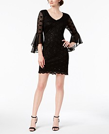 Bell-Sleeve Sequined Lace Dress