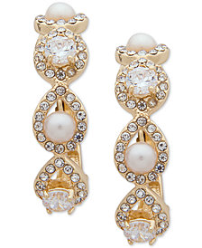 Anne Klein Gold-Tone Crystal & Imitation Pearl E-Z Comfort Clip-On Hoop Earrings