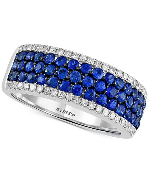 EFFY Collection Final Call by EFFY® Sapphire (1-1/8 ct. t.w.) & Diamond (1/4 ct. t.w.) Ring in 14k White Gold