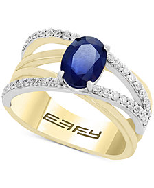 Final Call by EFFY® Sapphire (1-3/8 ct. t.w.) & Diamond (1/3 ct. t.w.) Crisscross Ring in 14k Gold & White Gold