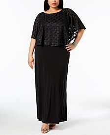 Connected Plus Size Glitter Popover Gown