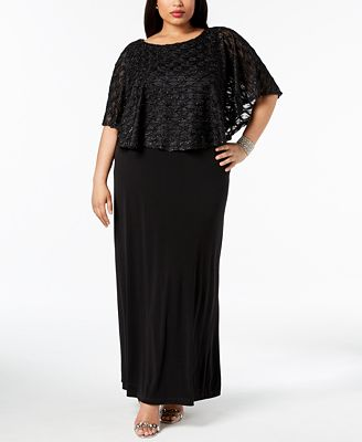 Connected Plus Size Glitter Popover Gown Dresses Women Macy S