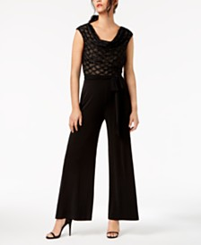 Connected Glitter Illusion Wide-Leg Jumpsuit