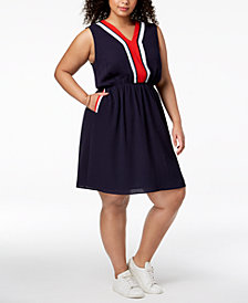 Monteau Trendy Plus Size Varsity-Stripe A-Line Dress