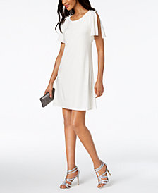 MSK Imitation-Pearl Split-Sleeve Shift Dress