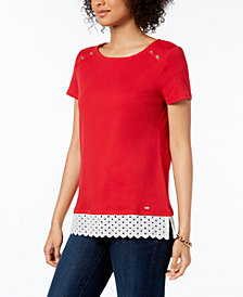 Tommy Hilfiger Button-Detail Crochet-Hem Top, Created for Macy's