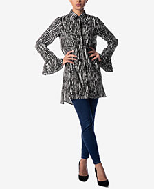 Verona Collection Printed Bell-Sleeve Shirt
