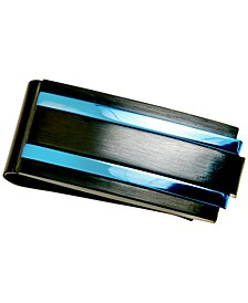 Men's Two-Tone Money Clip in Black & Blue Ion-Plated Stainless Steel