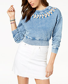 GUESS Cotton Andrea Cropped Cutout Sweatshirt