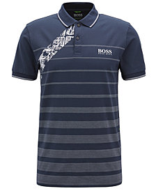 BOSS Men's Slim-Fit Graphic Cotton Polo Shirt
