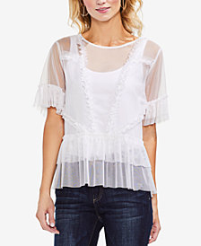 Vince Camuto Tiered Ruffle Mesh Top