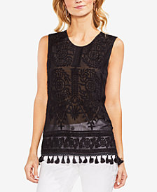 Vince Camuto Embroidered Tassel-Trim Top
