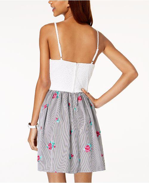 Black amp; Stripe Dress Juniors' Flare Gingham Lace amp; Fit BCX PFpqXx