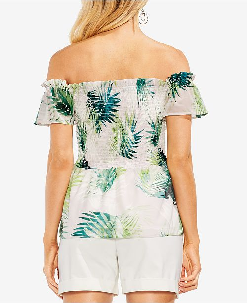 Green Verdant Vince Off The Camuto Palm Sunlit Shoulder Top Smocked avrqgzvwx8