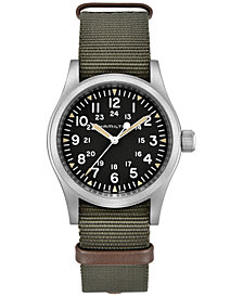 Hamilton Unisex Swiss Khaki Field Green Nato Strap Watch 38mm
