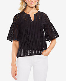 Vince Camuto Cotton Split-Neck Eyelet Top
