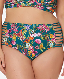 Jessica Simpson Plus Size Printed Strappy High-Waist Bikini Briefs