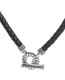"""American West Black Leather 20"""" Toggle Necklace in Sterling Silver"""