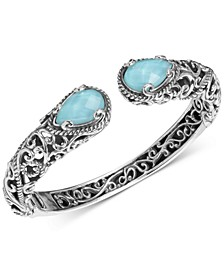 Turquoise/Rock Crystal Doublet Cuff Bracelet in Sterling Silver