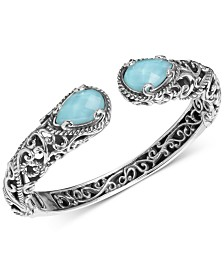 Carolyn Pollack Turquoise/Rock Crystal Doublet Cuff Bracelet in Sterling Silver