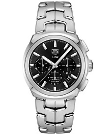 TAG Heuer Men's Swiss Automatic Chronograph Link Stainless Steel Bracelet Strap Watch 41mm