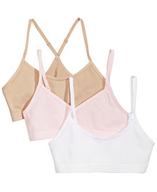 Maidenform 3-Pk. Seamless Crop Bras, Little & Big Girls