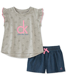 Calvin Klein Toddler Girls 2-Pc. Flutter-Sleeve Top & Denim Shorts Set