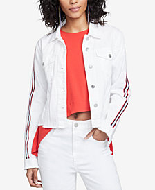 RACHEL Rachel Roy Cotton Striped-Sleeve Denim Jacket, Created for Macy's