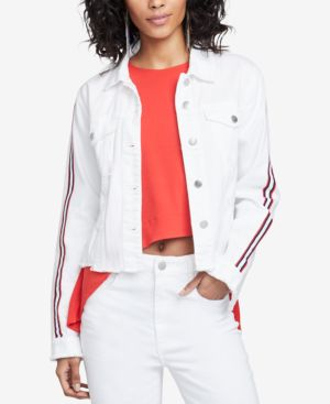 Rachel Rachel Roy Cotton Striped-Sleeve Denim Jacket, Created for Macy's - White Destroyed