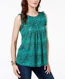 MICHAEL Michael Kors Mixed-Print Pleated Top, Regular and Petite