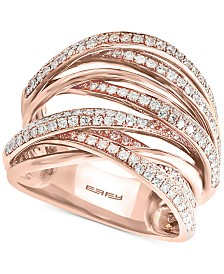 EFFY® Diamond Pavé Crisscross Multi-Row Statement Ring (3/4 ct. t.w.) in 14k Rose Gold