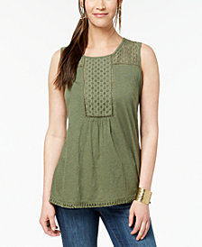 Style & Co Petite Eyelet-Trim Peplum Top, Created for Macy's