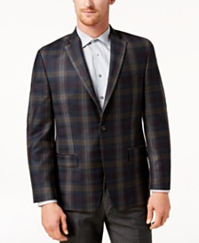 Michael Kors Men's Classic-Fit Green Plaid Sport Coat